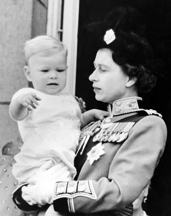 Young Queen Elizabeth II With Prince Andrew