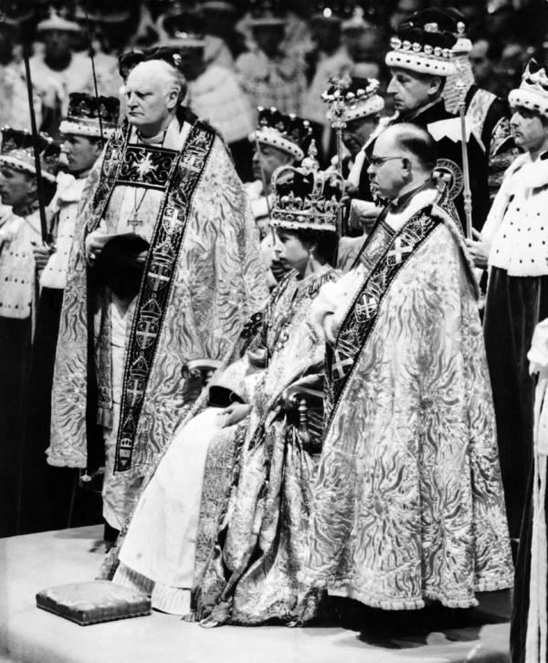 Young Queen Elizabeth II Wears The Crown