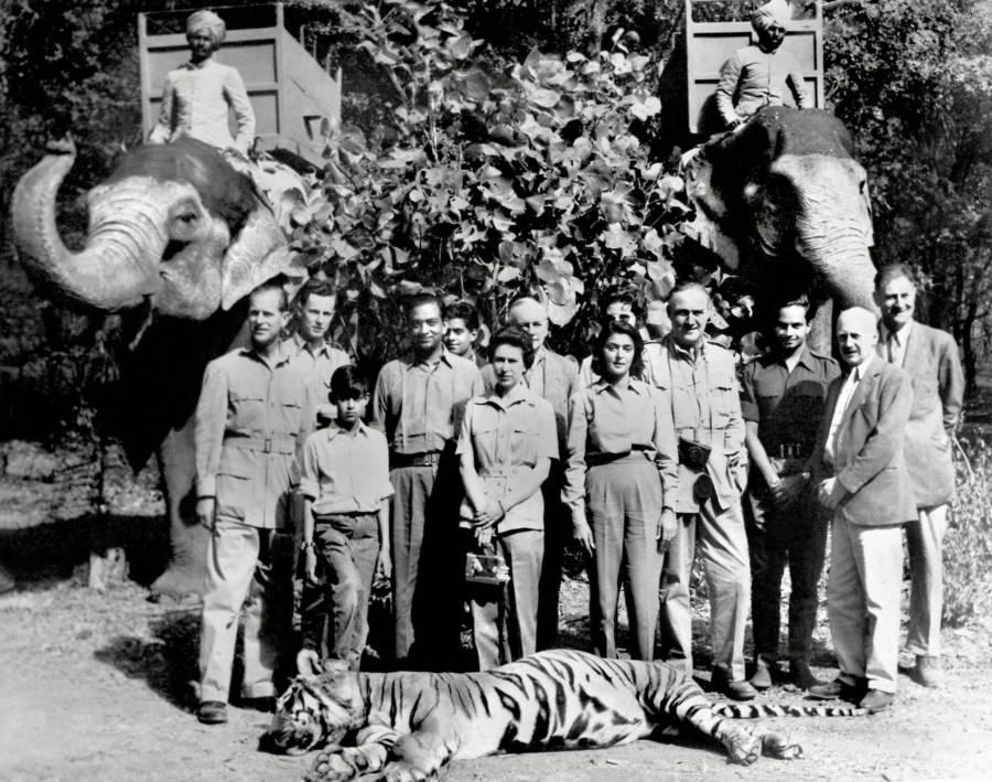 Queen Elizabeth II Poses With A Dead Tiger