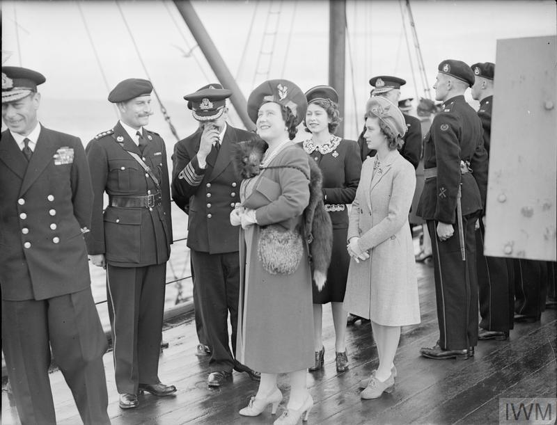 British Royals Watch World War 2 Battleship