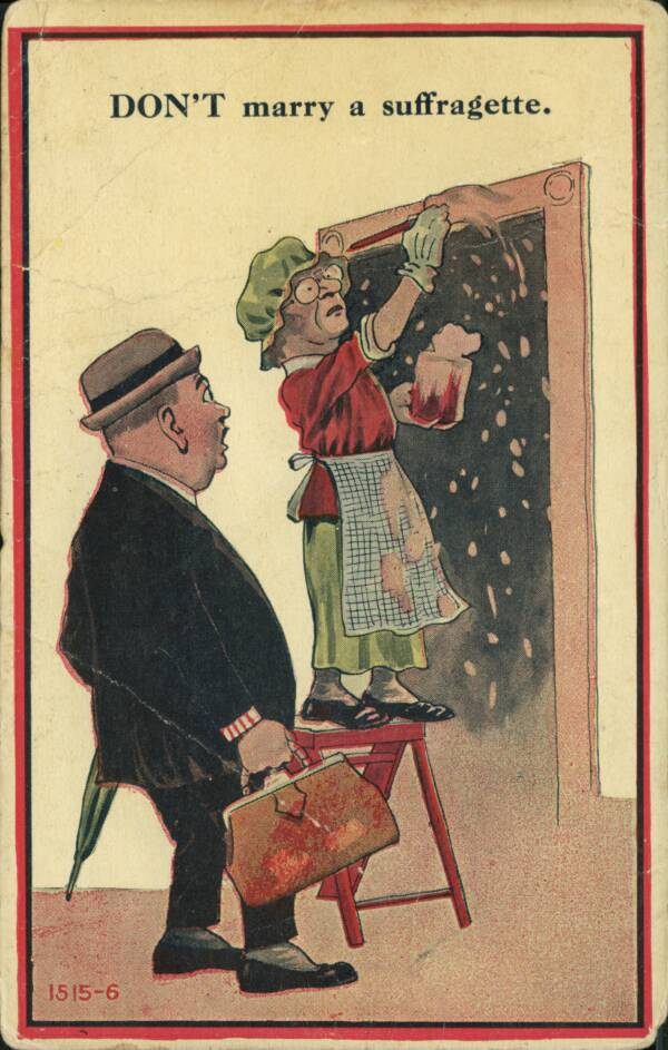 Anti-Suffrage Poster Of A Woman Painting Her Doorway