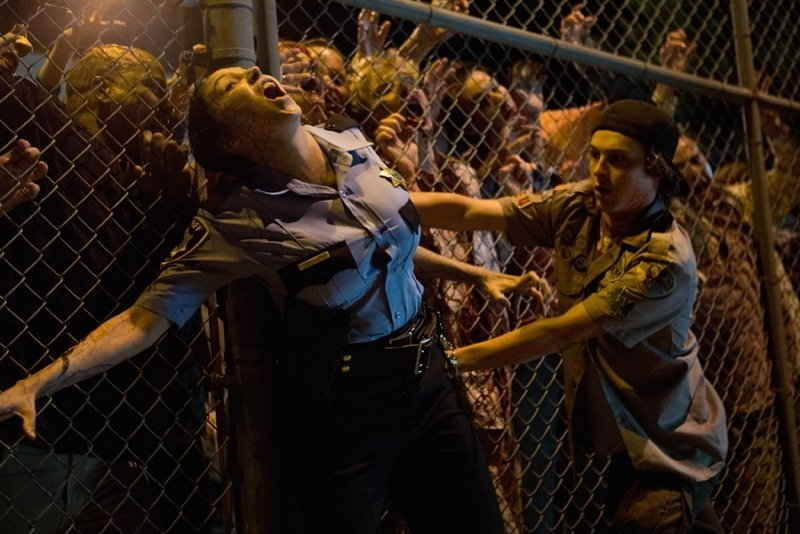 Zombies Fence Cop Kid