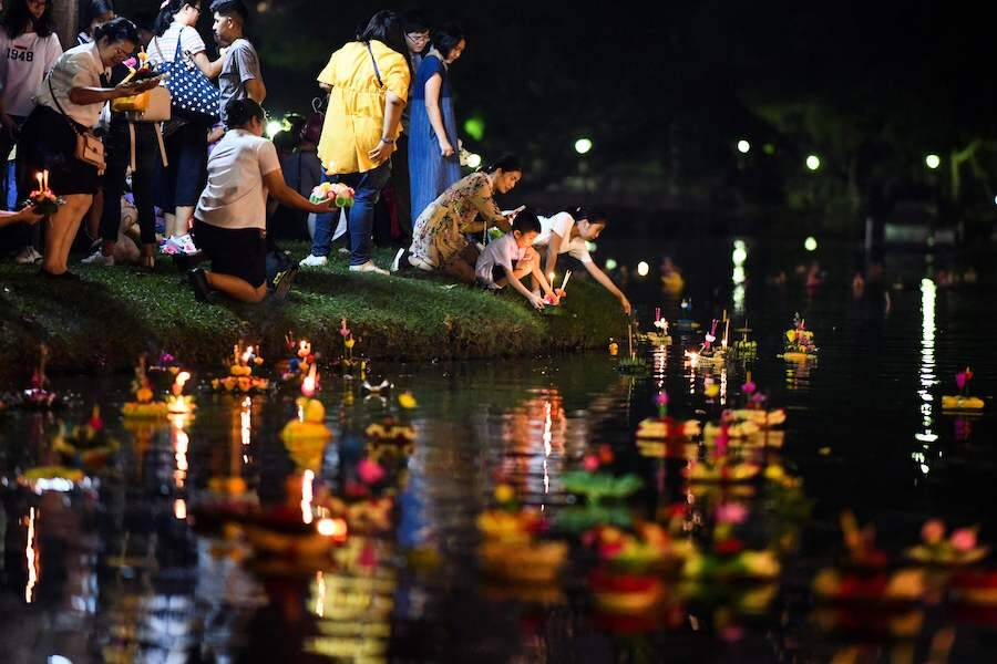 Loy Krathong On Water