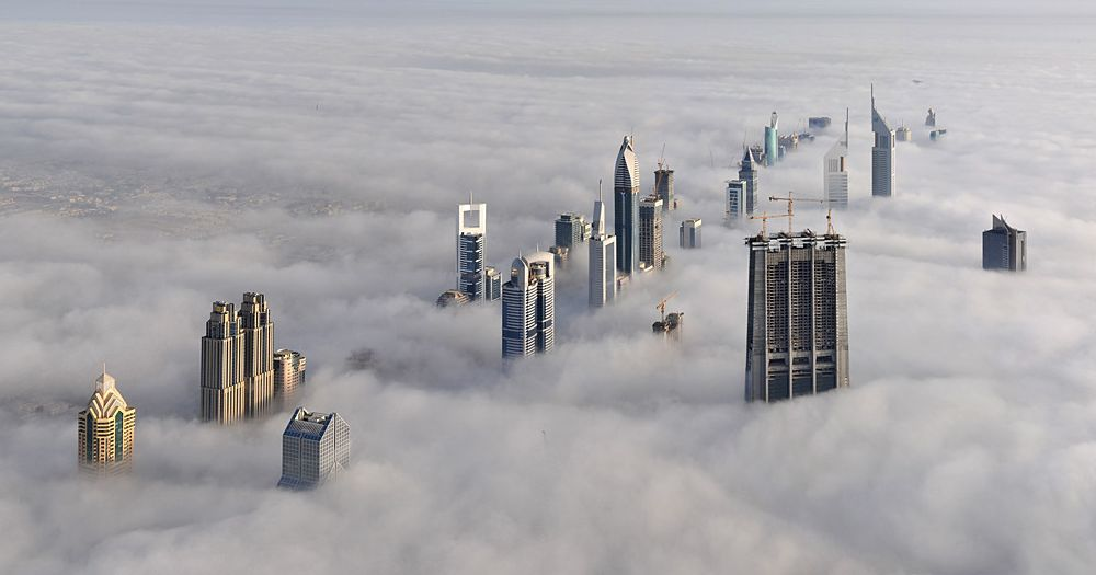 Dubai Skyline In The Fog Photograph