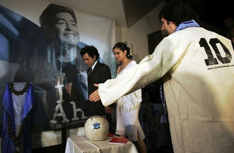 Argentinians Worshipping Diego Maradona