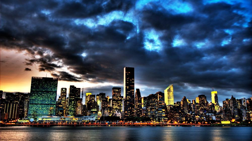 Photograph of New York City Skyline at Dusk