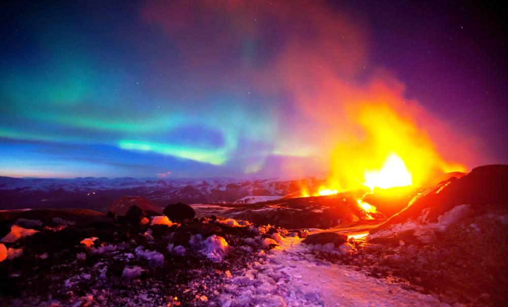 Aurora Iceland Volcano
