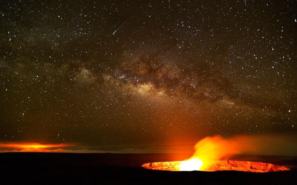 Milky Way Above A Hawaiian Lava Pool Photograph