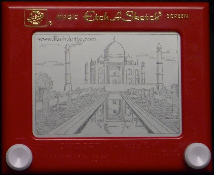 Etch-A-Sketch Art Taj Mahal