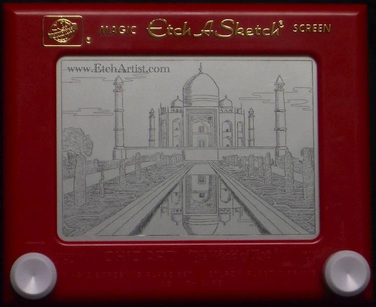 Etch-A-Sketch Art Taj Mahal