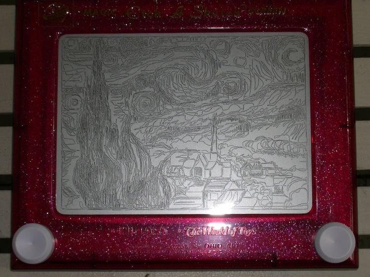 Starry Night Etch-A-Sketch Art