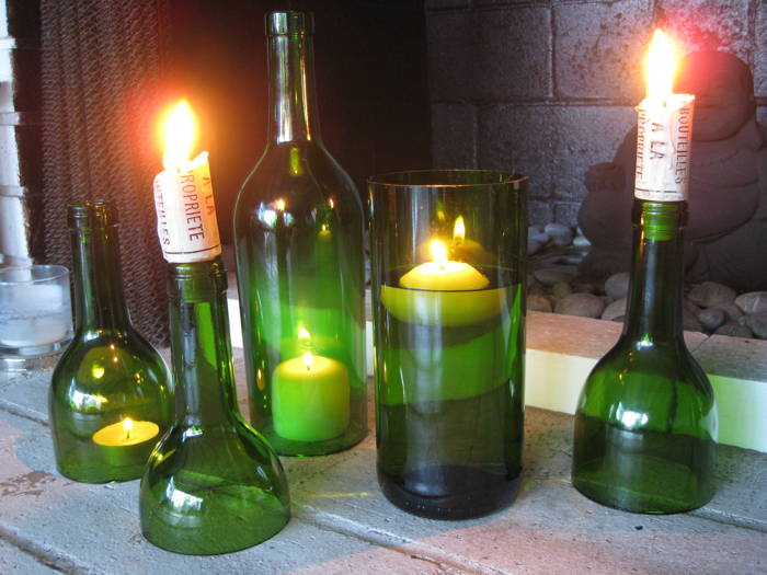 Six amazing ways to reuse your wine bottles for Champagne bottle candle holders