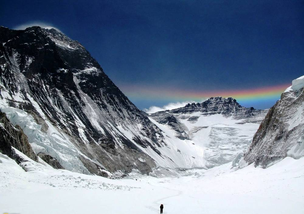 Mount Lhotse And Mount Everest Rainbow Photograph