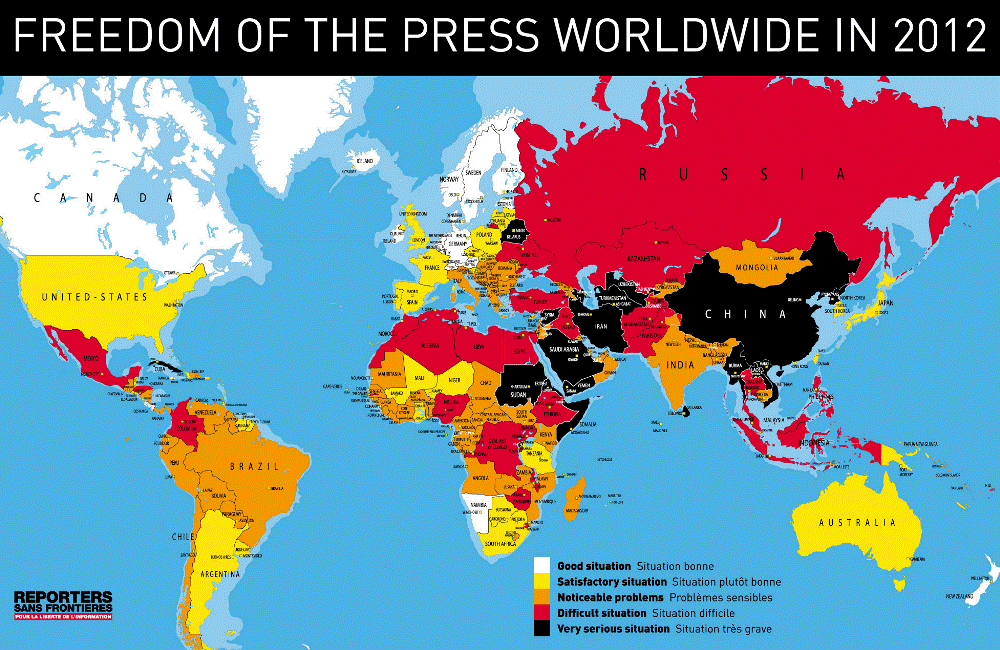 global freedom press 2012 map Mapping Freedom