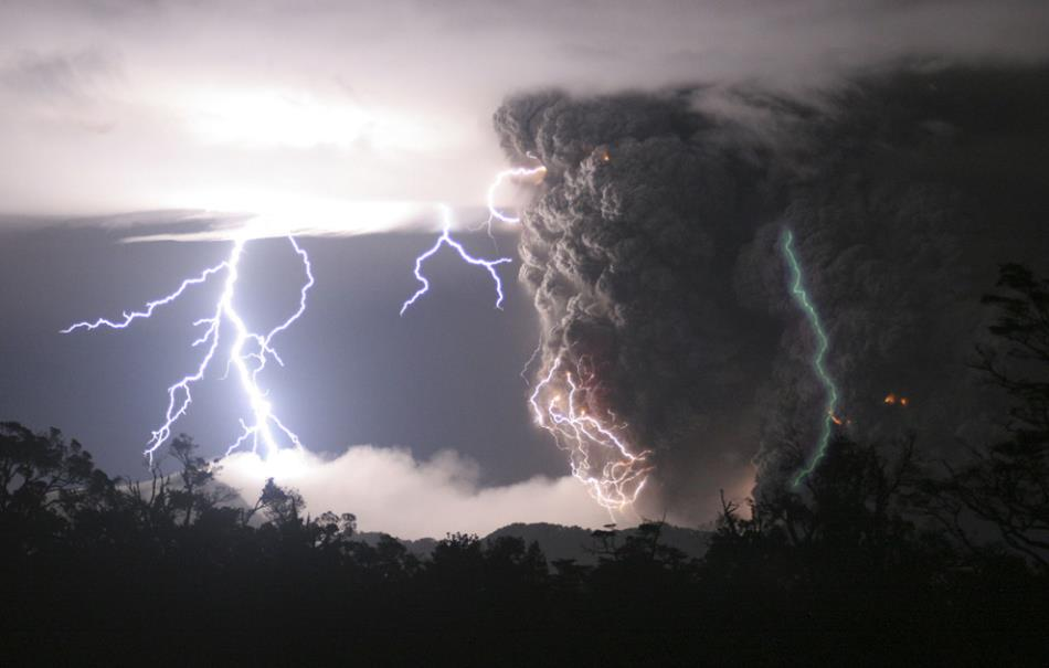 Incredible Lightning Chaiten Volcano Photograph
