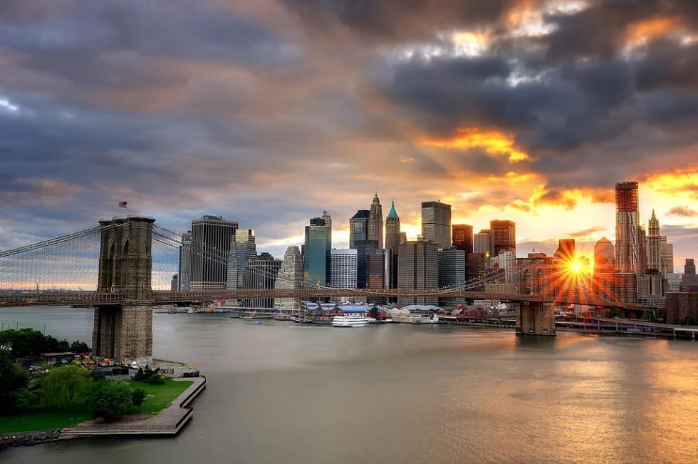 New York City Photographs Brooklyn Bridge At Sunset