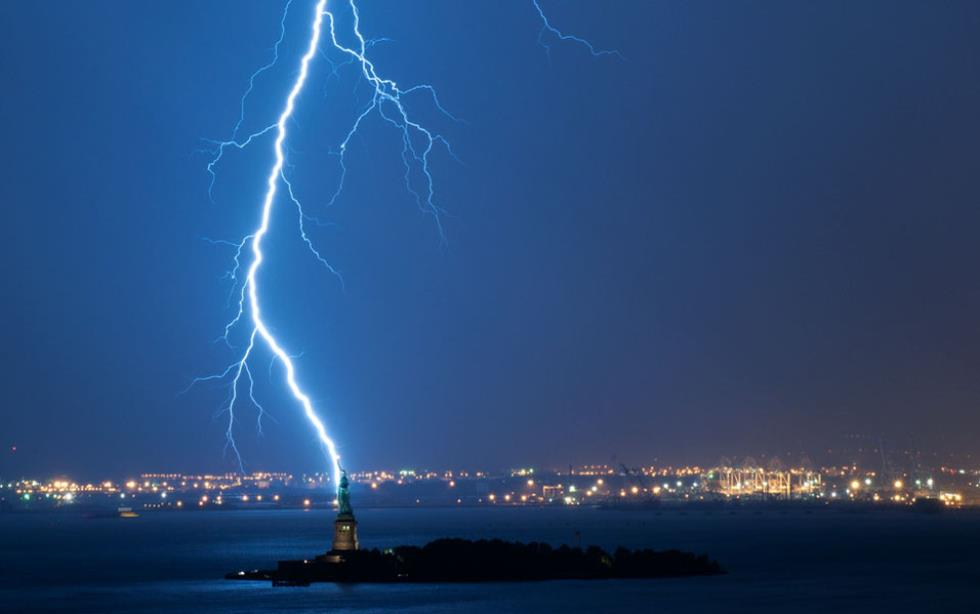 Lightning Strikes The Statue Of Liberty