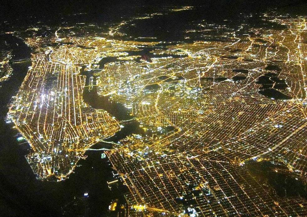 new york times building night
