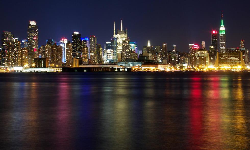 New York Skyline At Night Photograph
