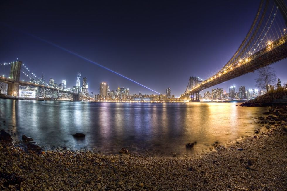 Rainbow Captured Over Manhattan From Brooklyn Photograph