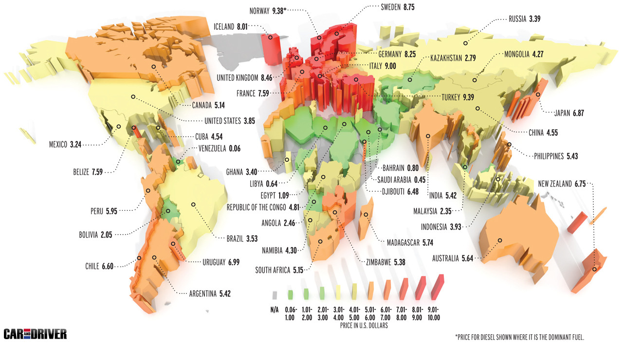 Gas Prices World Map