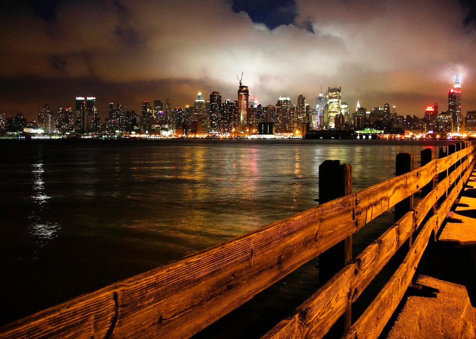 New York City Skyline At Night From New Jersey