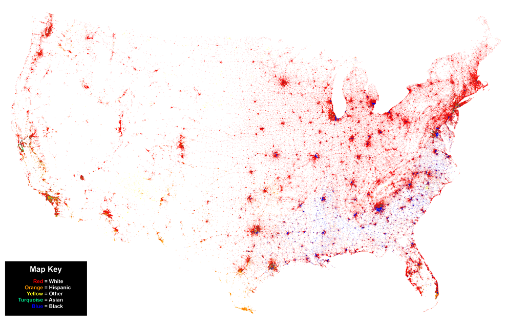Us Map Of Race Populations Globalinterco - Us population density map 2014