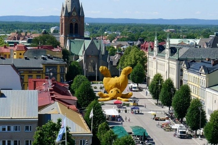Public Art Big Yellow Bunny Aerial