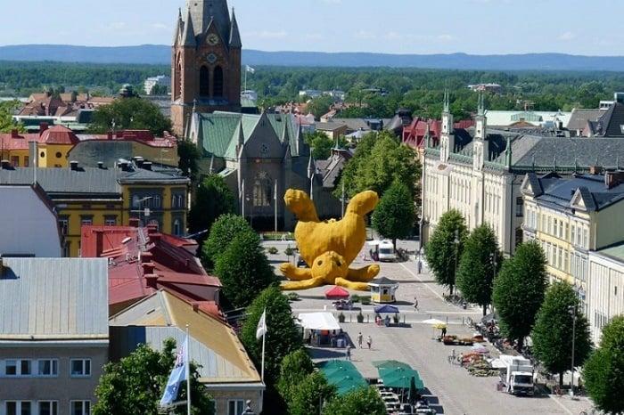 Public Art Big Yellow Bunny Aerial