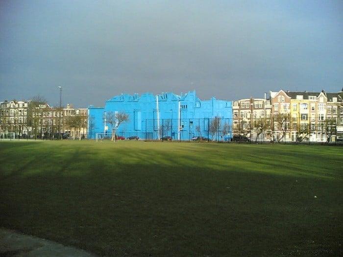 Public Art Blue Buildings Stand Out