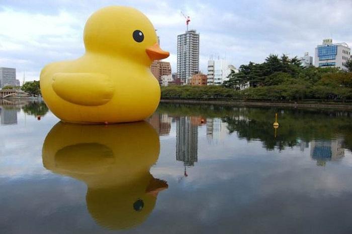 Public Art Floating Duck Reflection