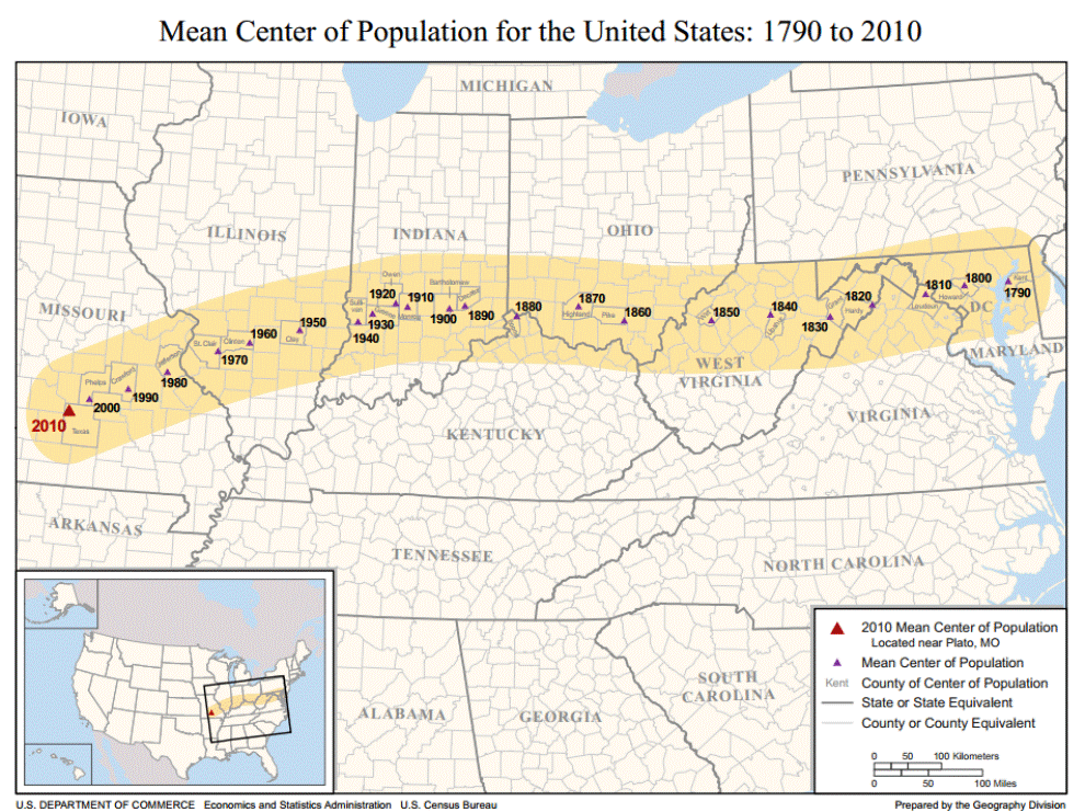 Mean Center Of Population United States 1790-2010