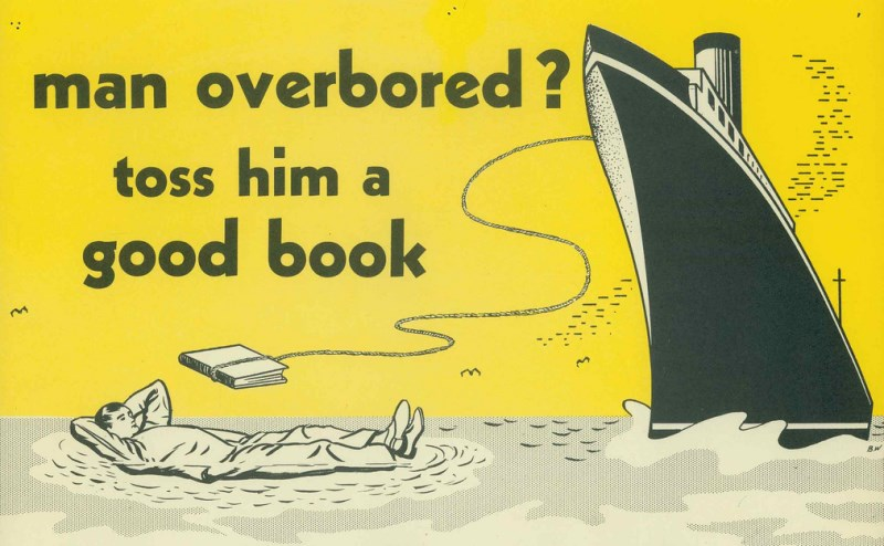 Vintage Library Ads Man Overbored