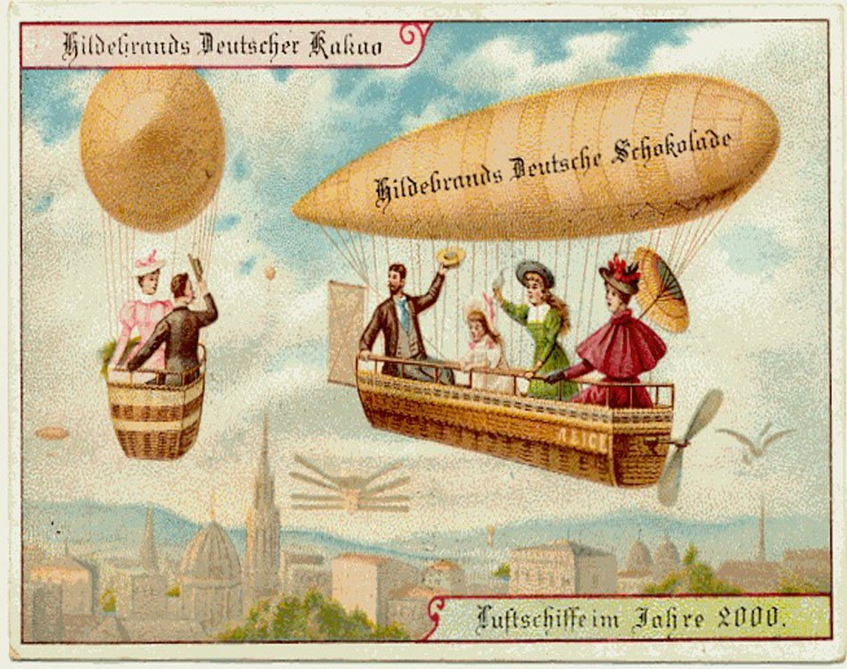 Similar to personal flying machines, personal airships would be the perfect mode of transportation for the modern family. Forget carriages and crowded streets; soar across the skies in your own zeppelin, high above the roofed cities.