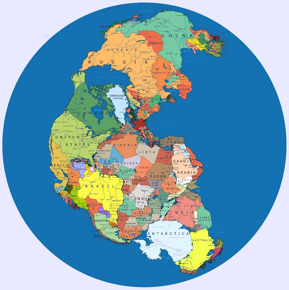 Map Pangea With Current Borders
