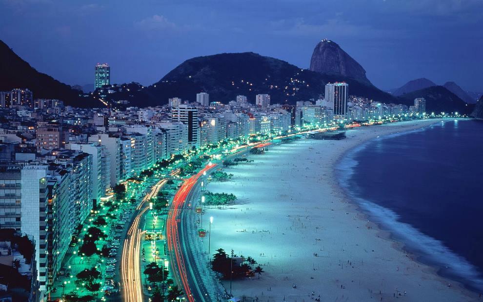 Beach Of Rio De Janeiro At Night