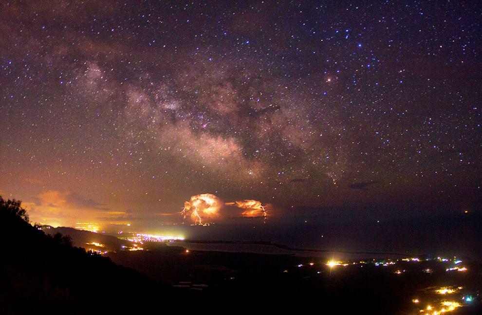 Milky Way Lightning Over Greece