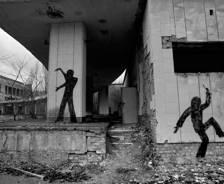 Chernobyl Black And White Figures