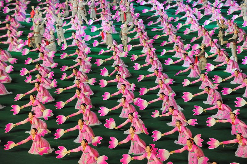 North Korea Women Flowers