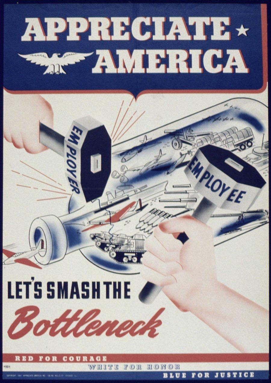 Smash The Bottleneck World War 2 Propaganda Poster