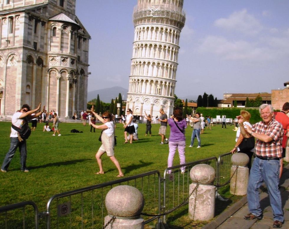 Tourists At The Leaning Tower