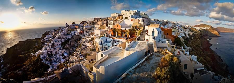 Fish Eye Picture Of Greek Coastal City