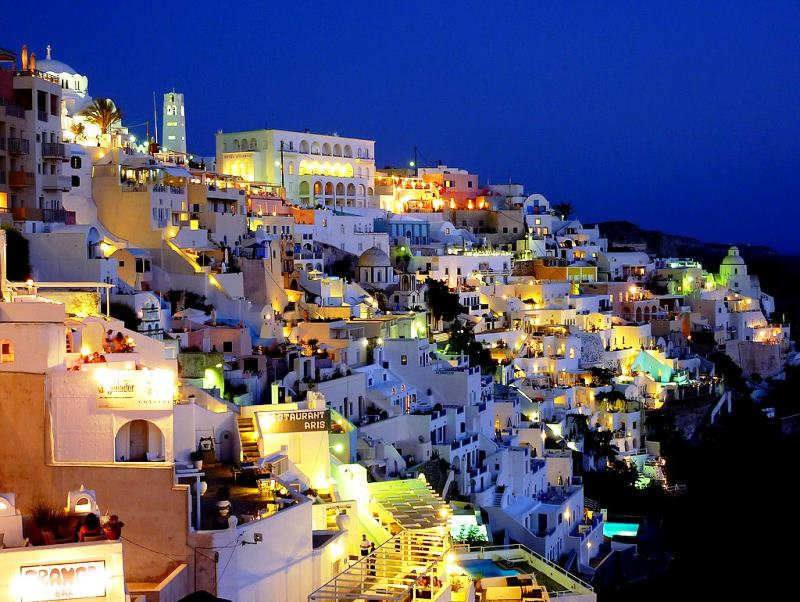 Santorini At Night Photograph