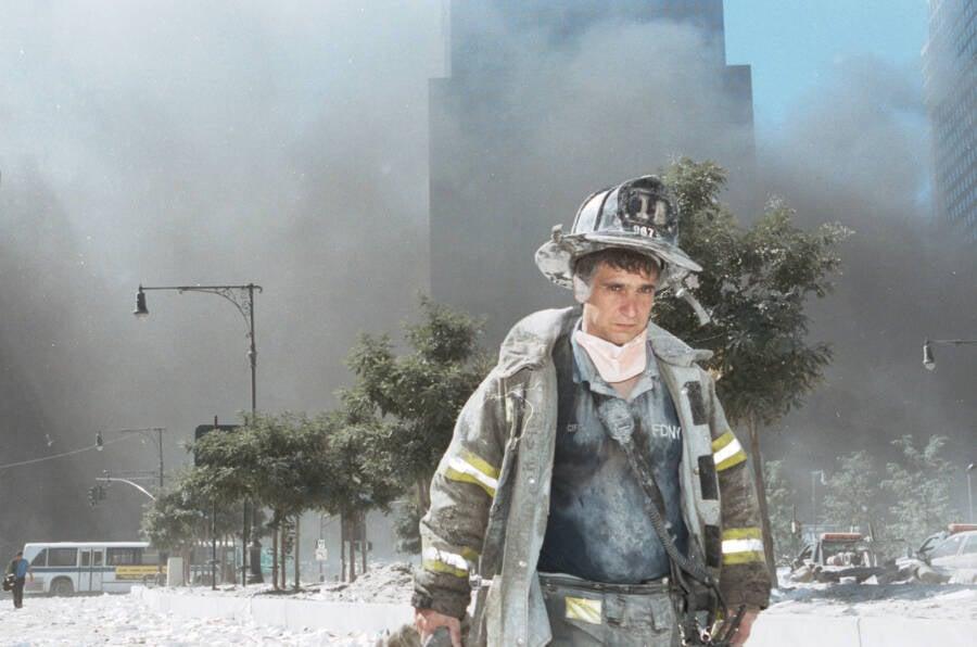 September 11th Firefighter Covered In Ash