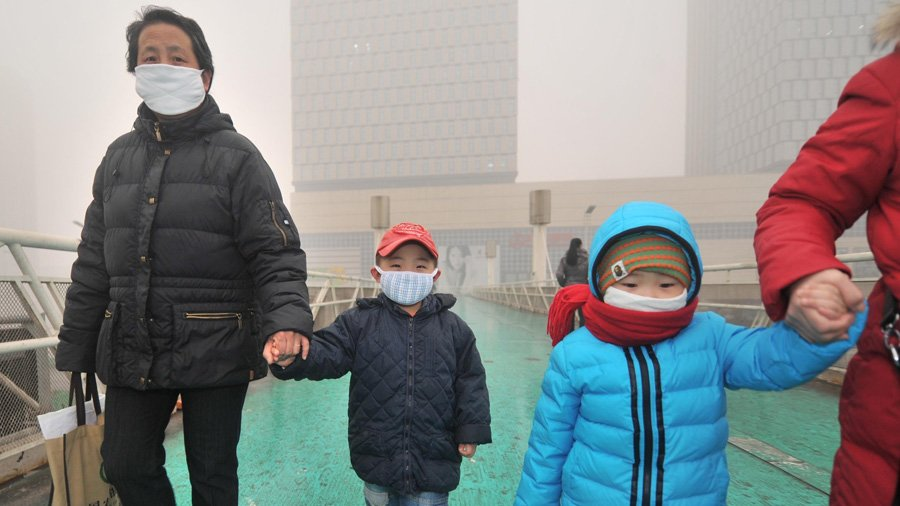 Chinese Pollution Children In Masks
