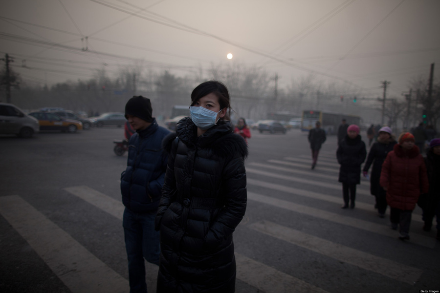 Chinese Pollution Pedestrian Crosswalk