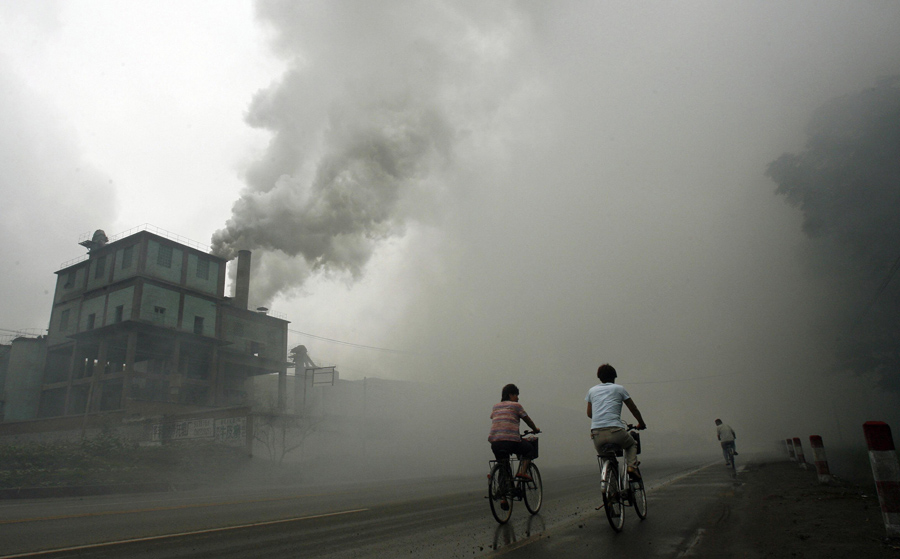 Chinese Pollution Factory Bikers