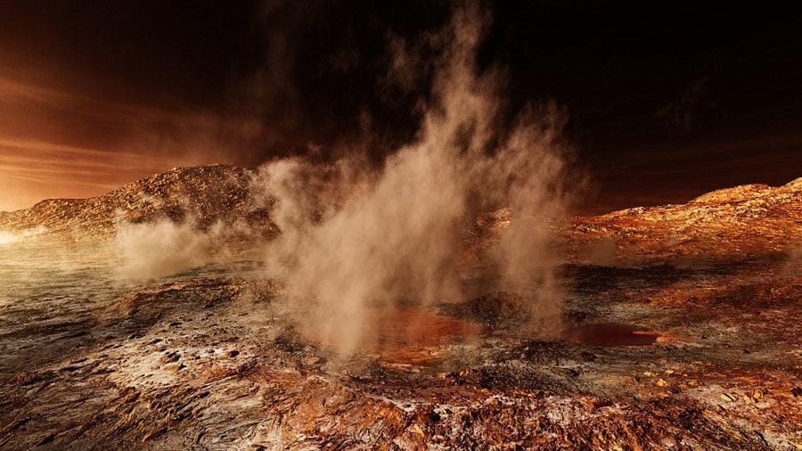 Mars Landscapes Steam Rising