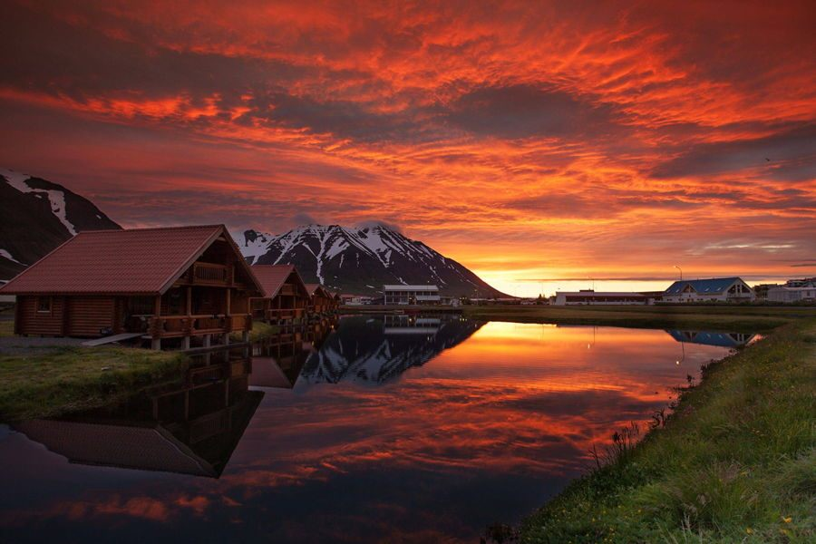 Sunset Lodge In Iceland