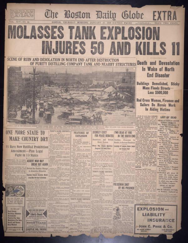 Newspaper on Boston Molasses Flood